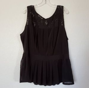 Black Baby Doll Sheer Lace Top